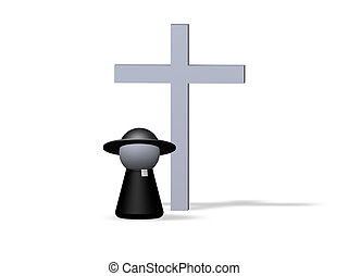 religion - play figure priest and holy cross