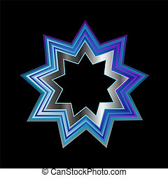 religion, pointu, neuf, bahai, symbol-
