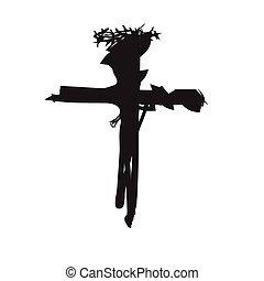 religion, résumé, vecteur, croix