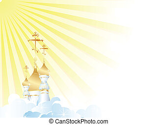 religion scenery with church cupola, sun and clouds....