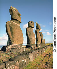 Religion sculpture on Easter island - Moais of Ahu Akivi ...