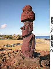 Moais of Ahu Akivi inland Ahu on the UNESCO World Heritage of Easter Island Chile