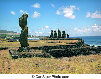 Religion sculpture on Easter island - Moais of Ahu Akivi...