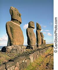 religion, sculpture, sur, île pâques