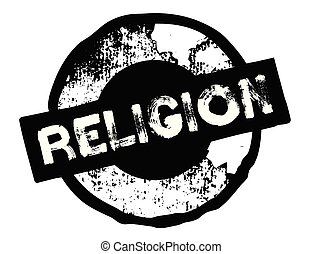 religion stamp on white