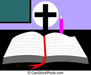Religion - Illustration of a bible and candle
