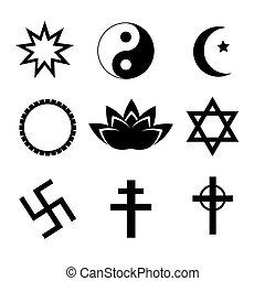 Religion symbol icons set. Vector