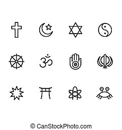 Religion symbols icon set - Icon set of religion symbols....