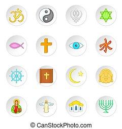 Religion symbols icons set, cartoon style