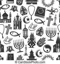 Religion symbols seamless pattern background - World...