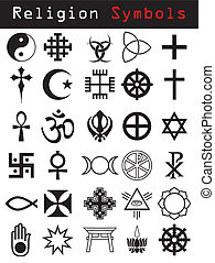 Religion symbols - Various religion symbol set in black and...