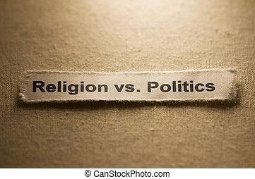 Picture of words religion vs politics.
