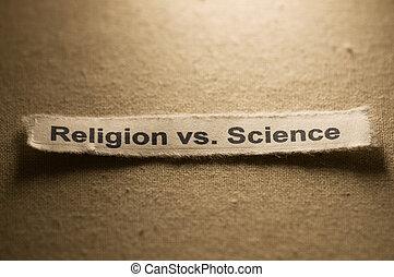 Religion vs Science - Picture of words religion vs science.