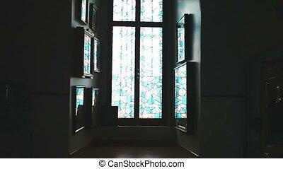 religion window in the church mosaic sunlight dark