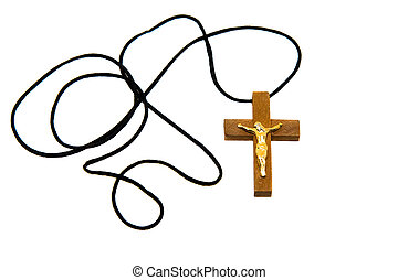 Religion - Wooden cross with a rope on a white background