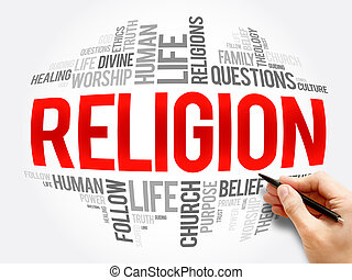 Religion word cloud collage