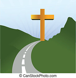 religione, concetto, disegno, strada, illustrazione
