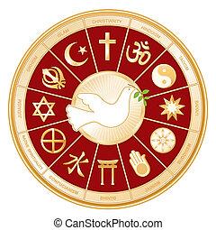 religioner, fred, verden, dykke