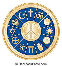 religioner, fred, verden, symbol
