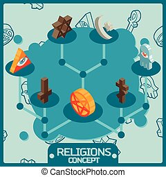 Religions color isometric concept icons