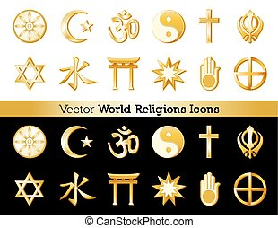 Religions Icons of the World, Black and White Backgrounds -...