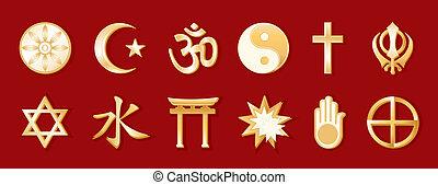 religions mondiales, arrière-plan rouge