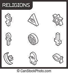 Religions outline isometric icons