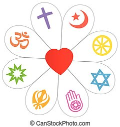 Religion symbols that form a flower with a heart as a symbol for religious unity or commonness - Islam, Buddhism, Judaism, Jainism, Sikhism, Bahai, Hinduism, Christianity. Isolated vector over white.