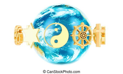 Religions symbols with rotating Earth Globe, 3D rendering...