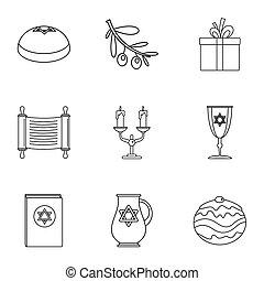 Religiosity icons set, outline style - Religiosity icons...