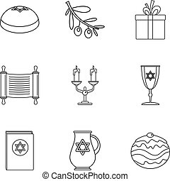 Religiosity icons set, outline style