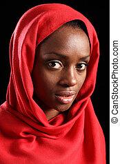 religioso, africano, musulmán, mujer, en, rojo, pañuelo