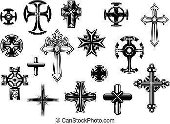 religioso, cruces, conjunto