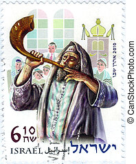 religioso, ebreo, soffiando, a, il, shofar