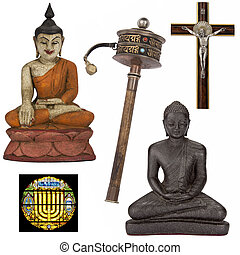 religioso, objetos, para, recorte, -, aislado