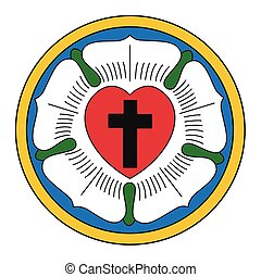 religioso, signo., christianity., luther, rose., vector,...