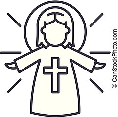 Religious angel line icon concept. Religious angel vector linear illustration, symbol, sign