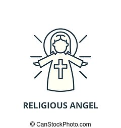 Religious angel vector line icon, linear concept, outline sign, symbol