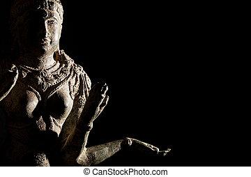 Religious artifact. Bronze statue of Hindu Goddess Lakshmi