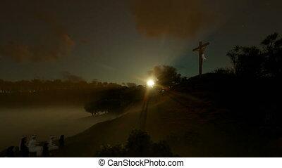 Religious believers praying at Jesus cross against beautiful...