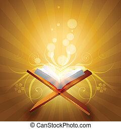 religious book of quraan vector illustration