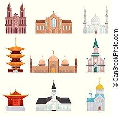 Religious buildings set, Islam, Buddhist, Christian religion...