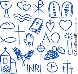 Religious chalky symbols - Illustration of religious hand-...