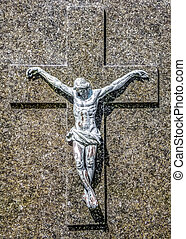 Religious Chrisitan Background - Marble sculpture at grave...