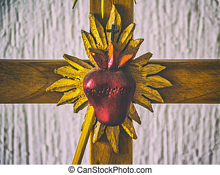 Religious Cross and Sacred Heart of Jesus