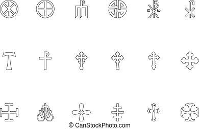 Religious cross black color set outline style vector illustration