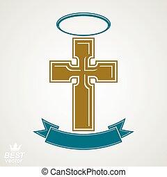 Religious cross emblem with nimbus and decorative ribbon,...