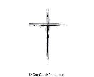 Religious Cross Grunge Design B & W