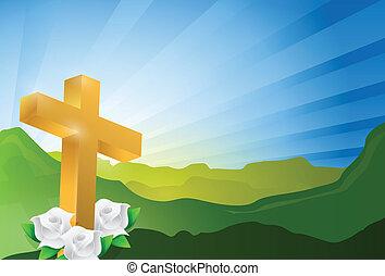 religious cross heaven landscape