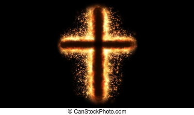 Religious cross on fire